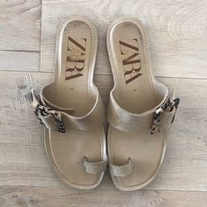 Zara Shoes - Zara Suede Sandals with Tortoise Shell Buckle